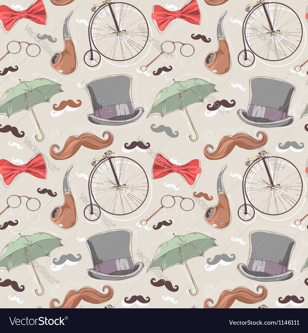 Retro seamless pattern with vintage objects vector | Price: 1 Credit (USD $1)