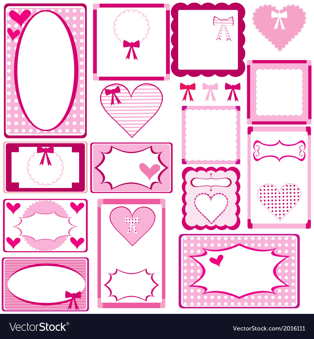 Set of cute pink frames for girls vector | Price: 1 Credit (USD $1)
