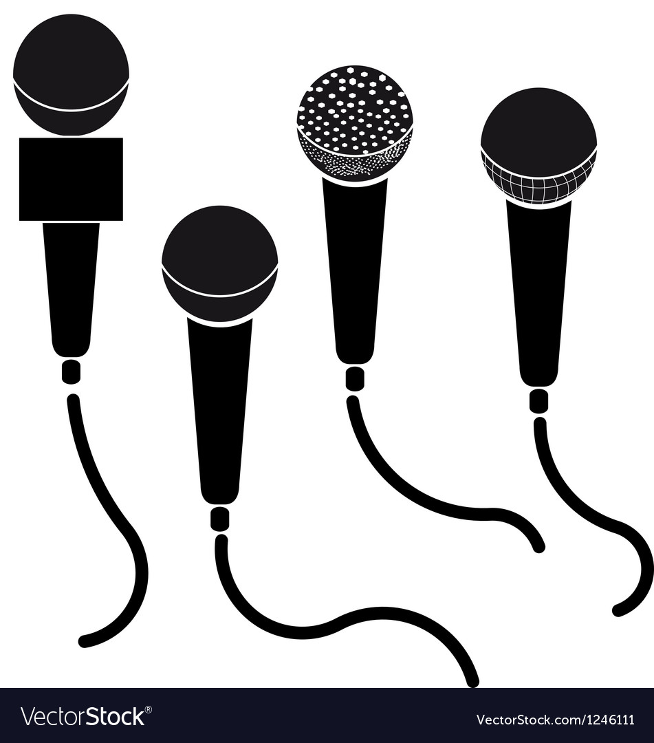 Set of microphones black silhouette isolated on vector | Price: 1 Credit (USD $1)