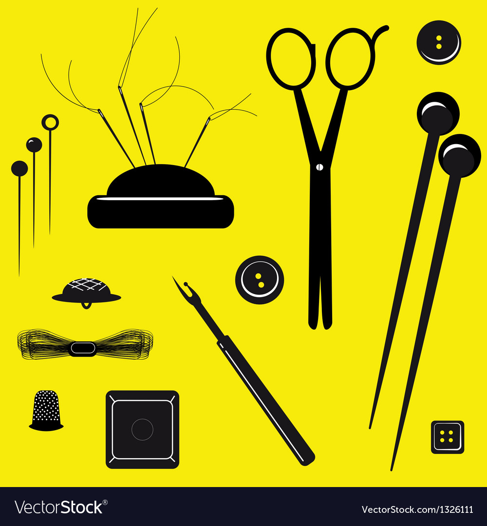 Sewing kit on a yellow background vector | Price: 1 Credit (USD $1)