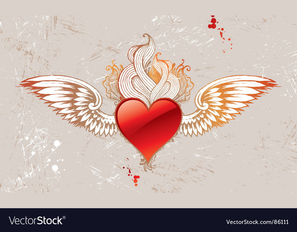 Vintage winged heart vector | Price: 1 Credit (USD $1)