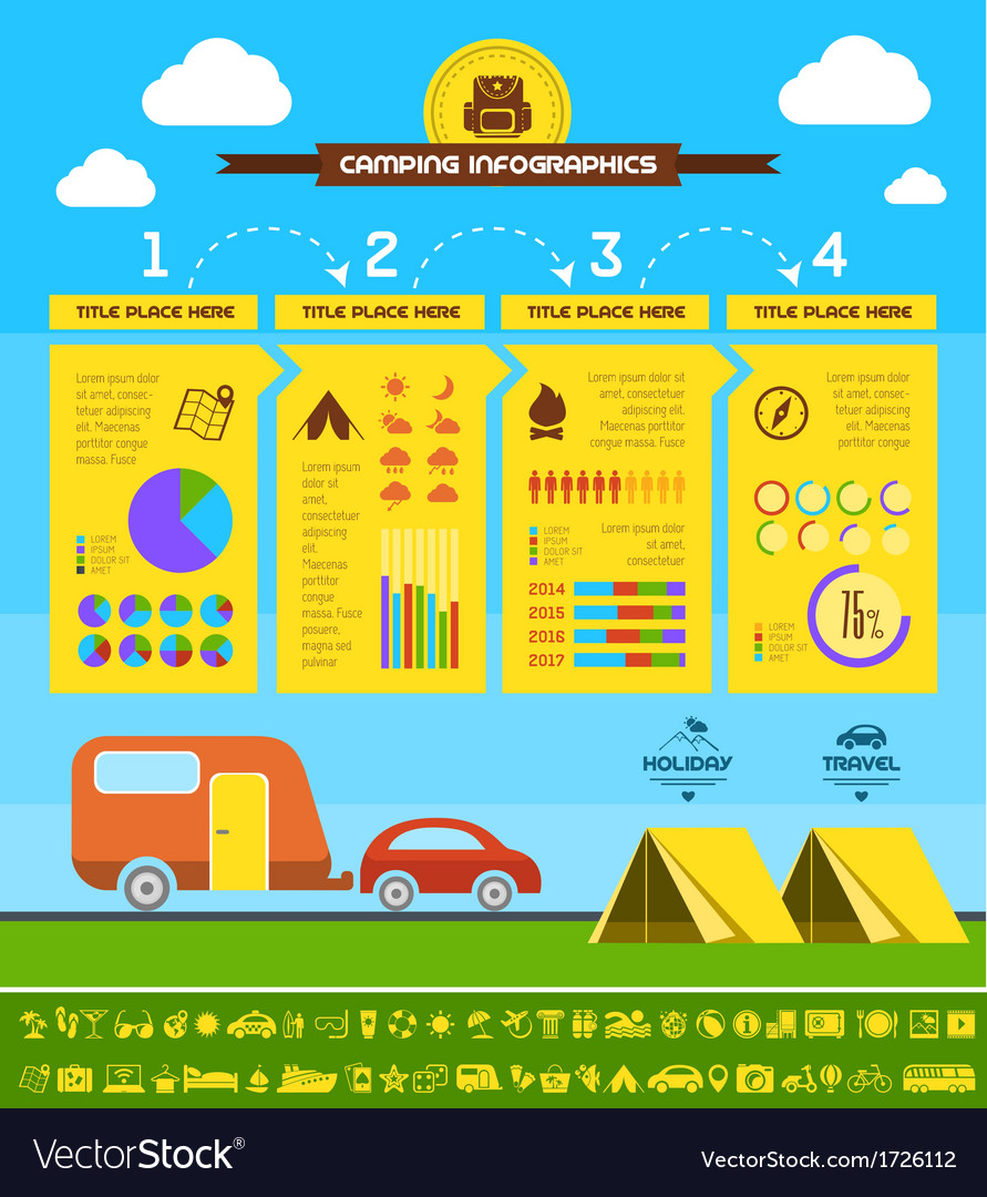 Flat camping infographic template vector | Price: 1 Credit (USD $1)