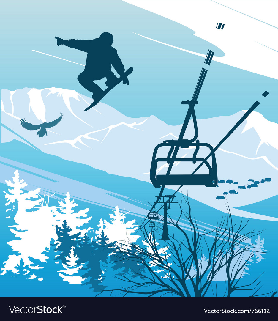 Snowboarder on a background of mountains vector | Price: 1 Credit (USD $1)