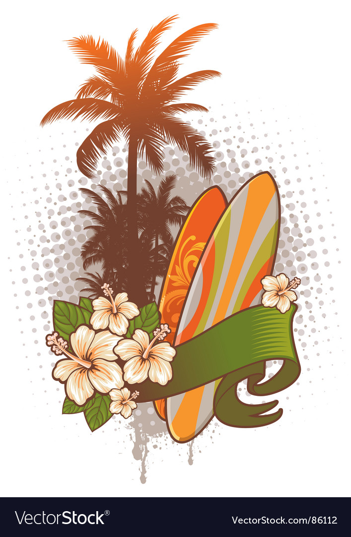 Surfboards hibiscus and palm trees vector | Price: 1 Credit (USD $1)