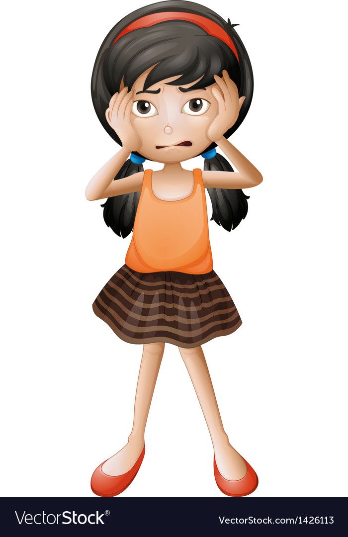 A stressed little girl vector | Price: 1 Credit (USD $1)
