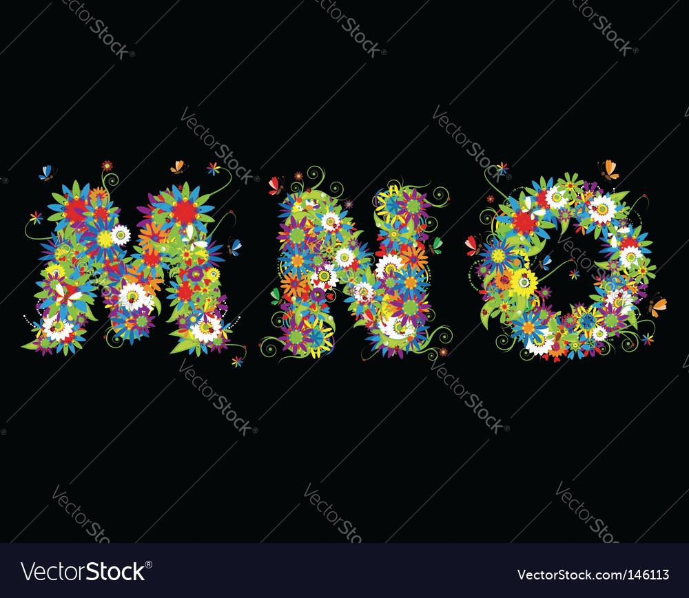 Alphabet floral design vector | Price: 1 Credit (USD $1)
