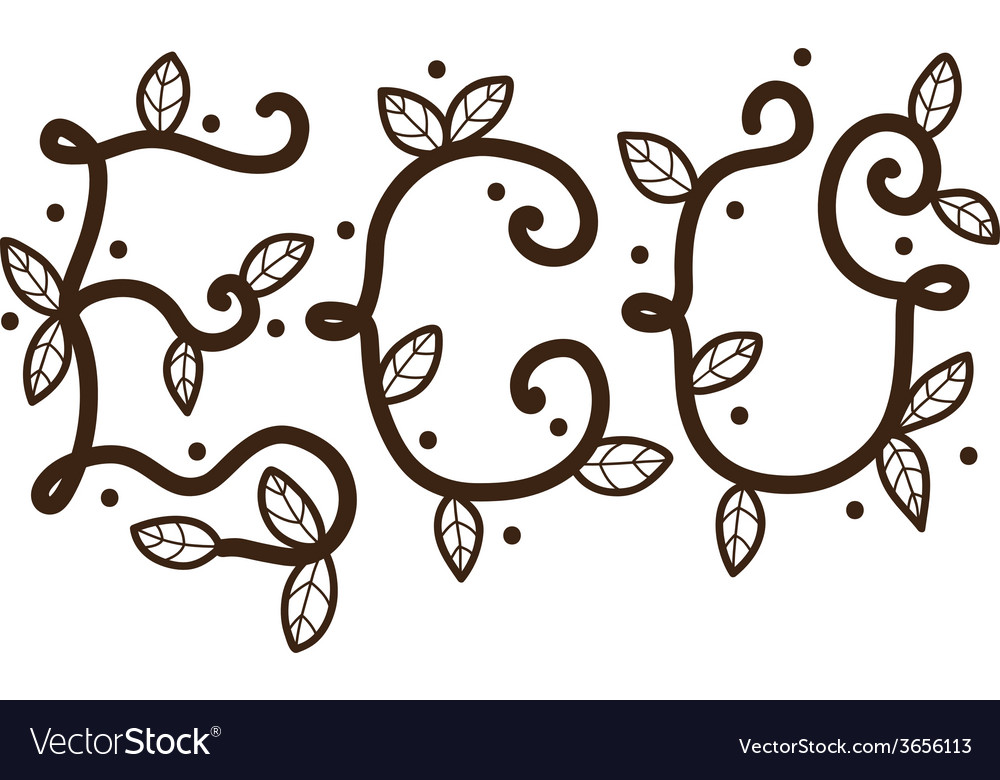 Eco letters with leaves vector | Price: 1 Credit (USD $1)