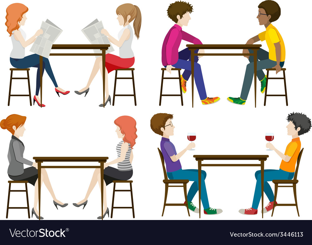 Faceless people at the table vector | Price: 3 Credit (USD $3)