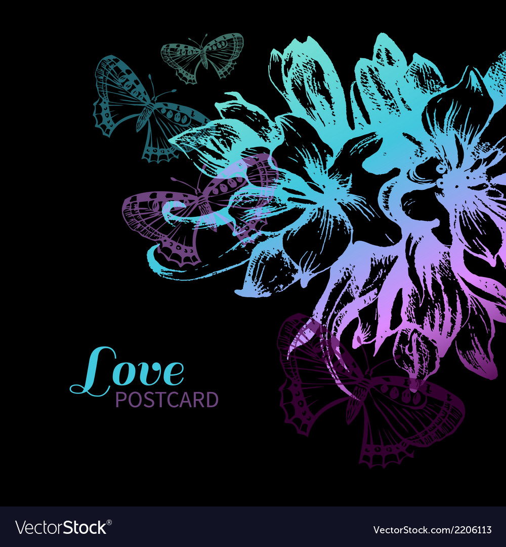 Floral love card vector | Price: 1 Credit (USD $1)