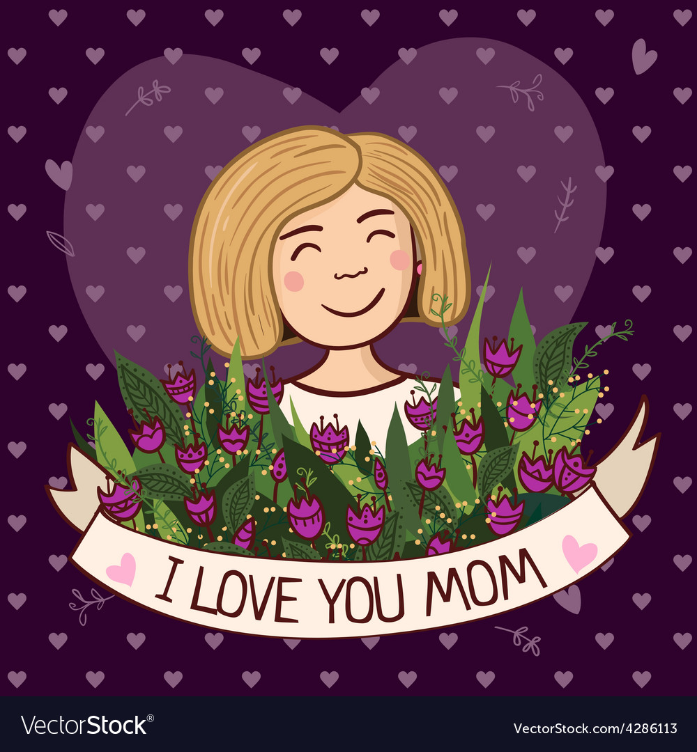 Greeting card i love you mom blonde vector | Price: 1 Credit (USD $1)