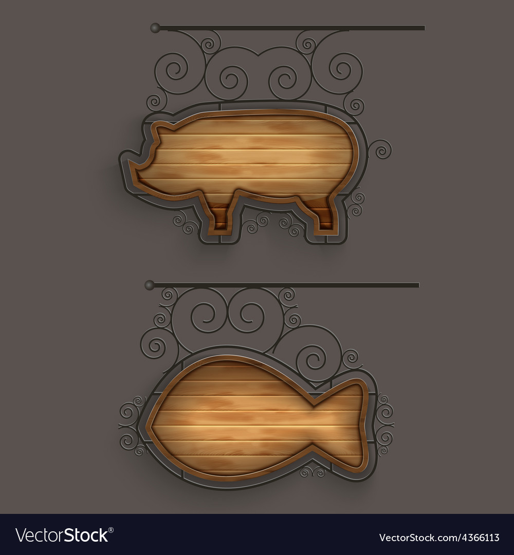 Illuminated set of wooden signboards vector | Price: 1 Credit (USD $1)