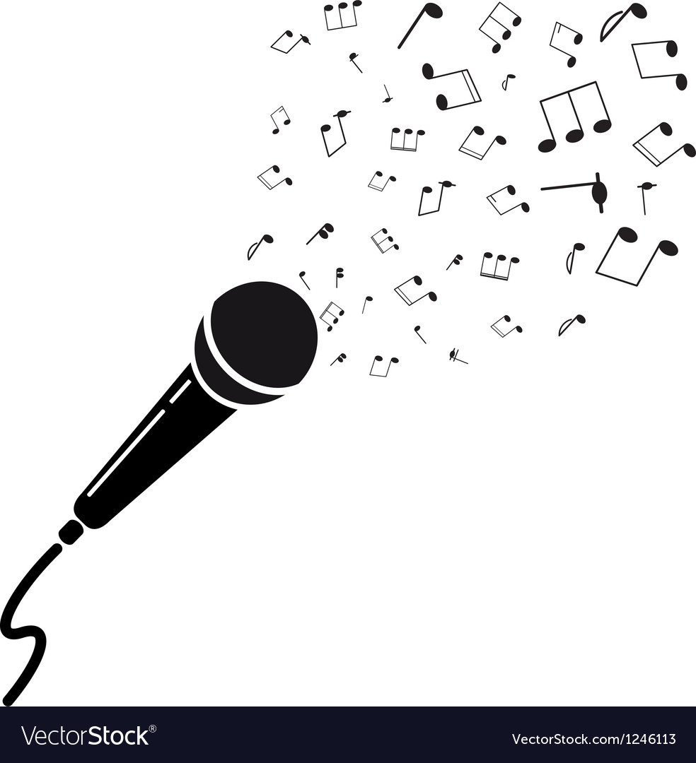 Microphone black silhouette with notes a isolated vector | Price: 1 Credit (USD $1)