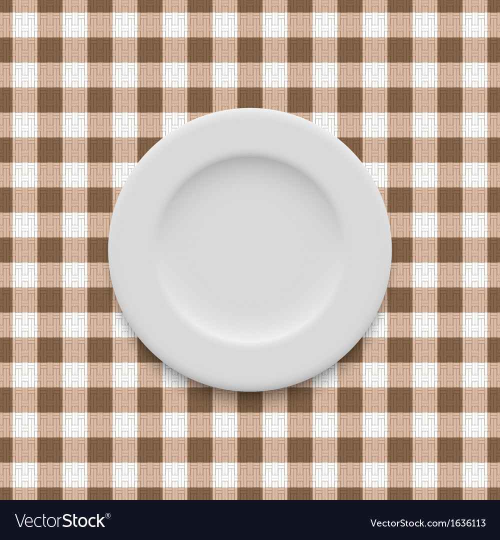 Plate on tablecloth vector | Price: 1 Credit (USD $1)