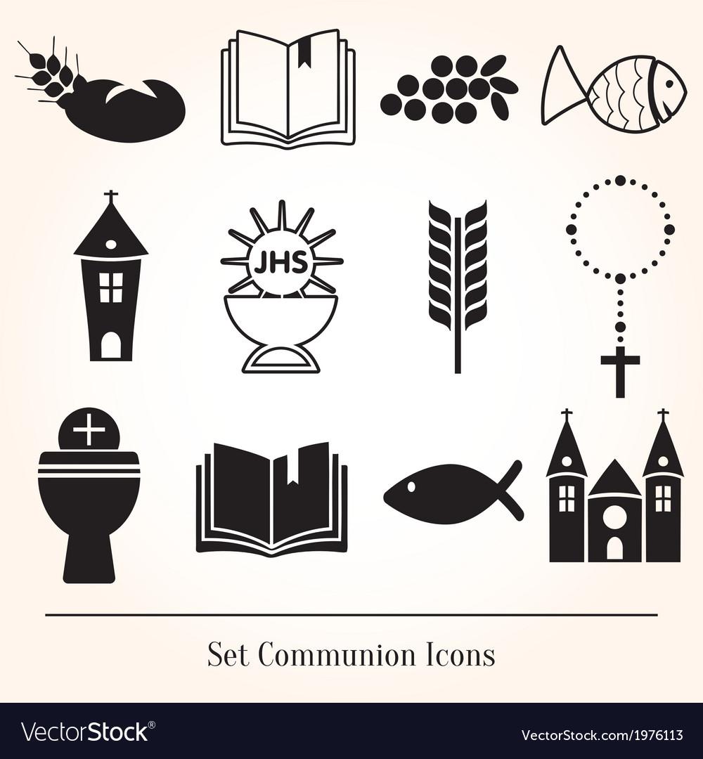 Set communion catholic icons vector | Price: 1 Credit (USD $1)