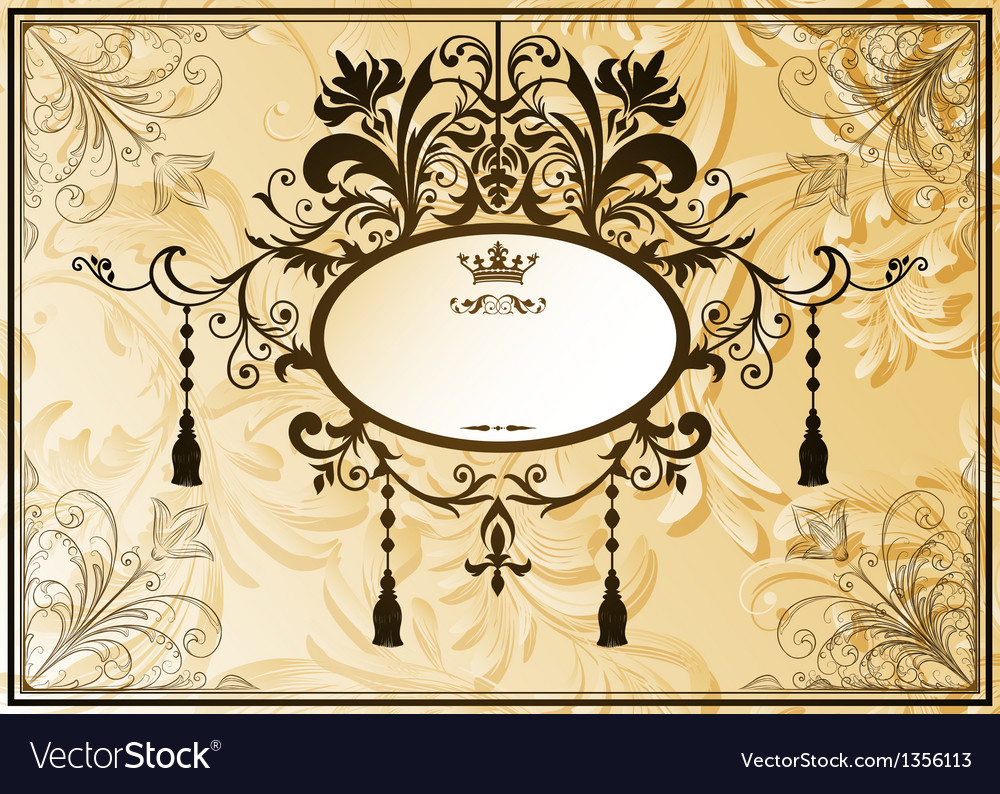 Vintage background with ornate frame vector | Price: 1 Credit (USD $1)