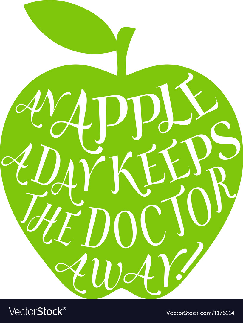 An apple a day keeps the doctor away vector | Price: 1 Credit (USD $1)