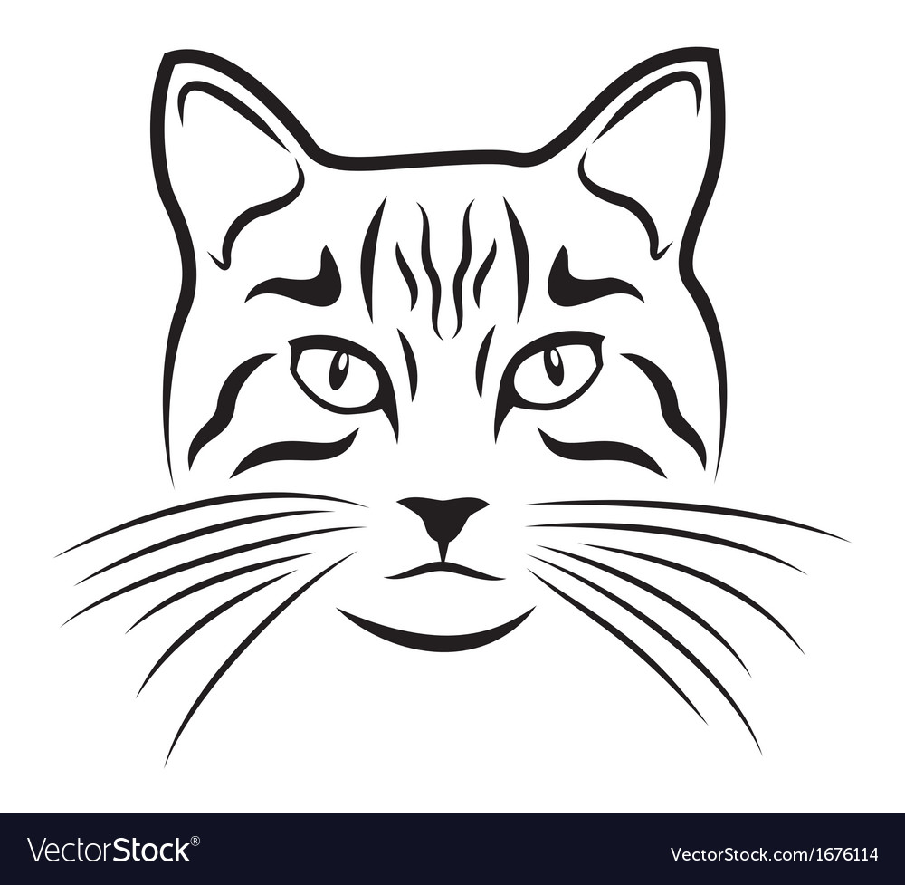 Cat on white background vector | Price: 1 Credit (USD $1)