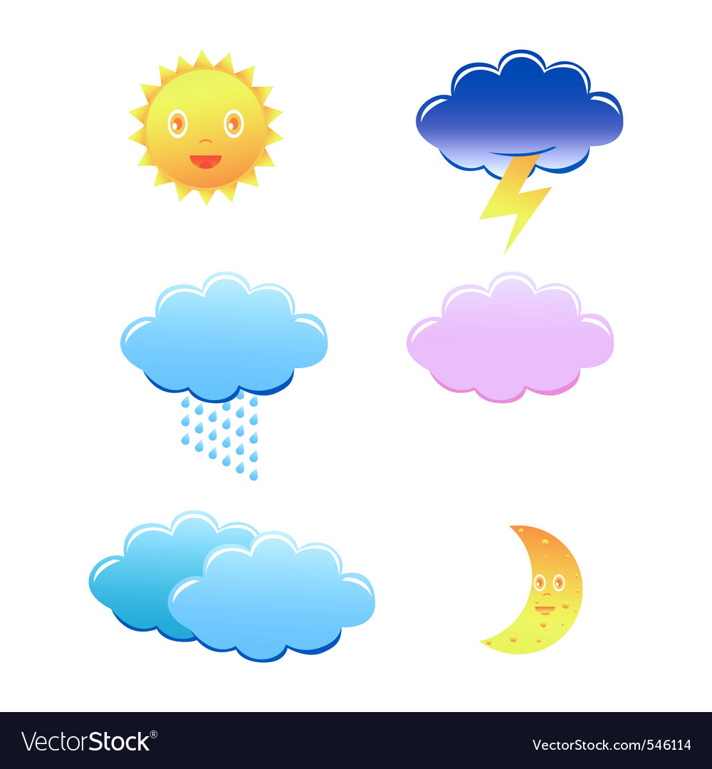 Cute weather icons on white background vector | Price: 1 Credit (USD $1)