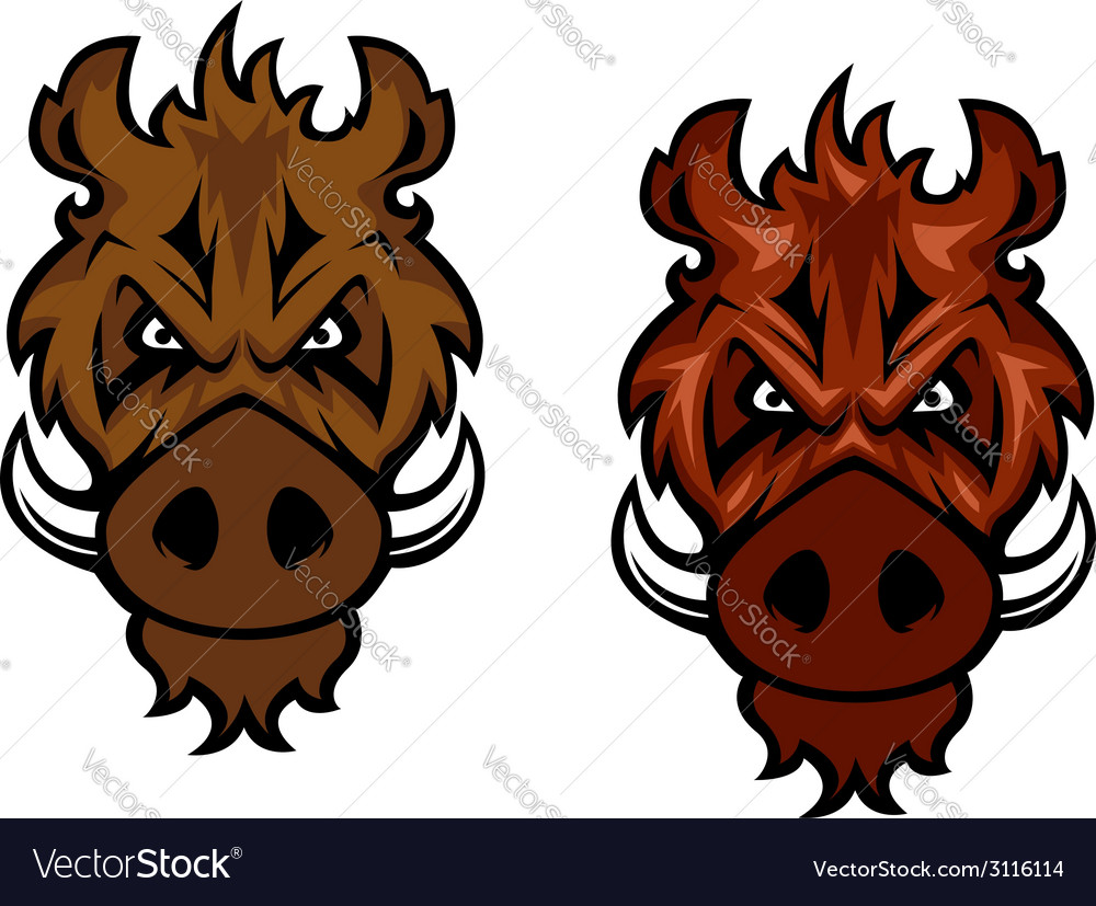 Fierce wild boar with curved tusks vector | Price: 1 Credit (USD $1)