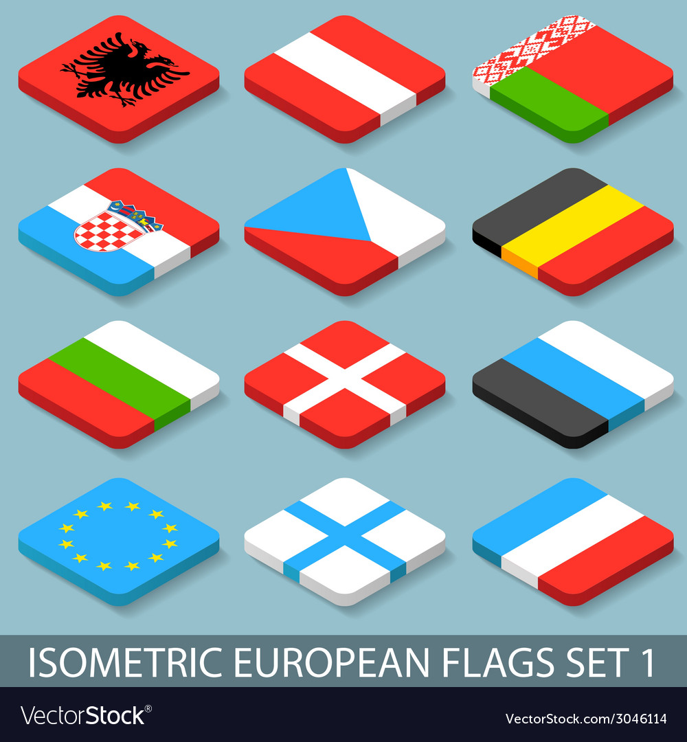Flat isometric european flags set 1 vector | Price: 1 Credit (USD $1)