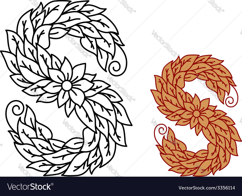 Floral and foliate font uppercase letter s vector   Price: 1 Credit (USD $1)