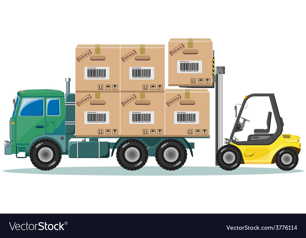 Loader ships the goods in warehouse vector | Price: 1 Credit (USD $1)