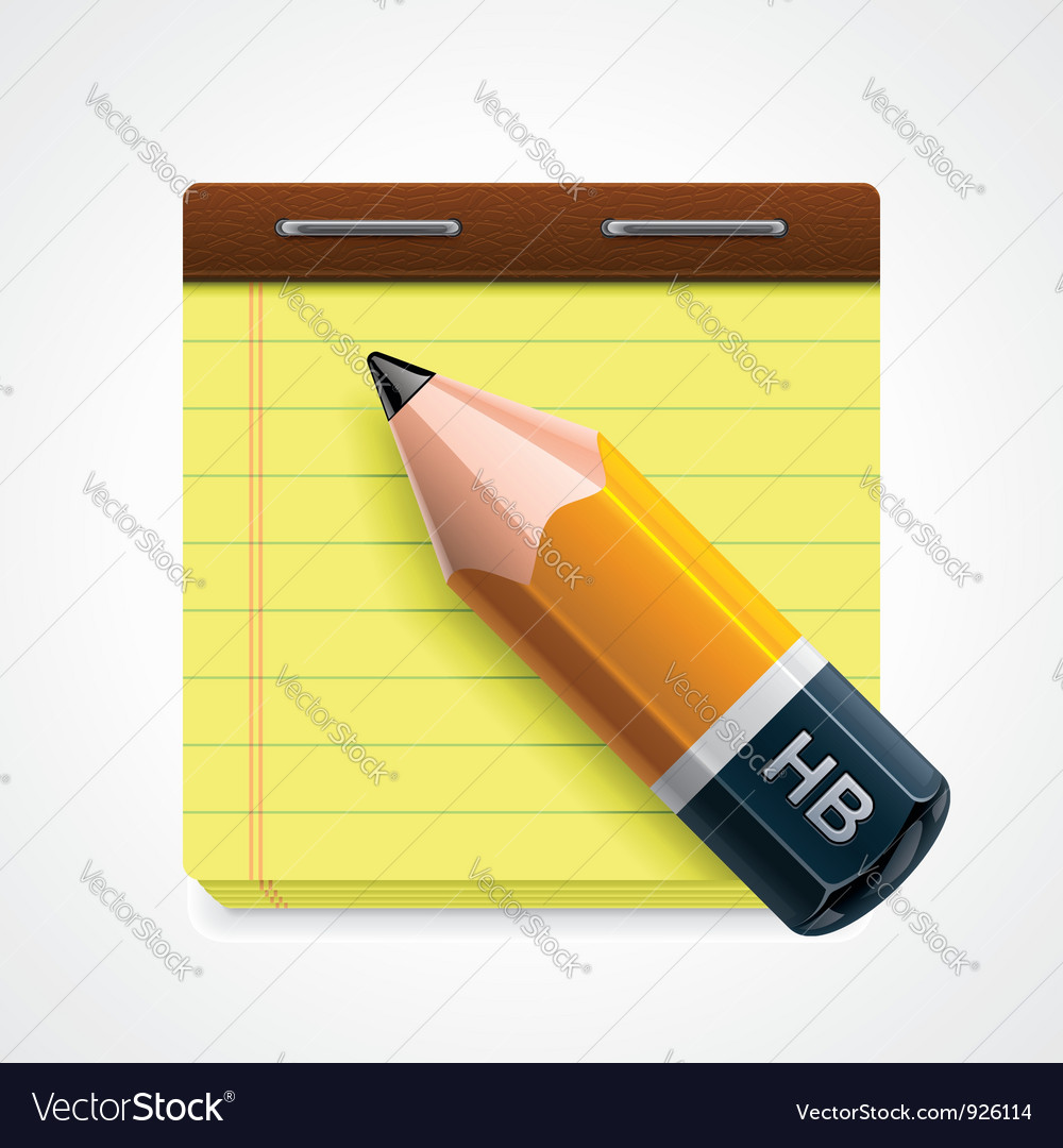 Pencil and notepad icon vector | Price: 3 Credit (USD $3)