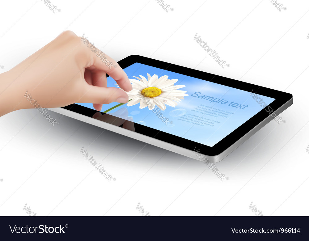Tablet with flowers and women hand vector | Price: 3 Credit (USD $3)