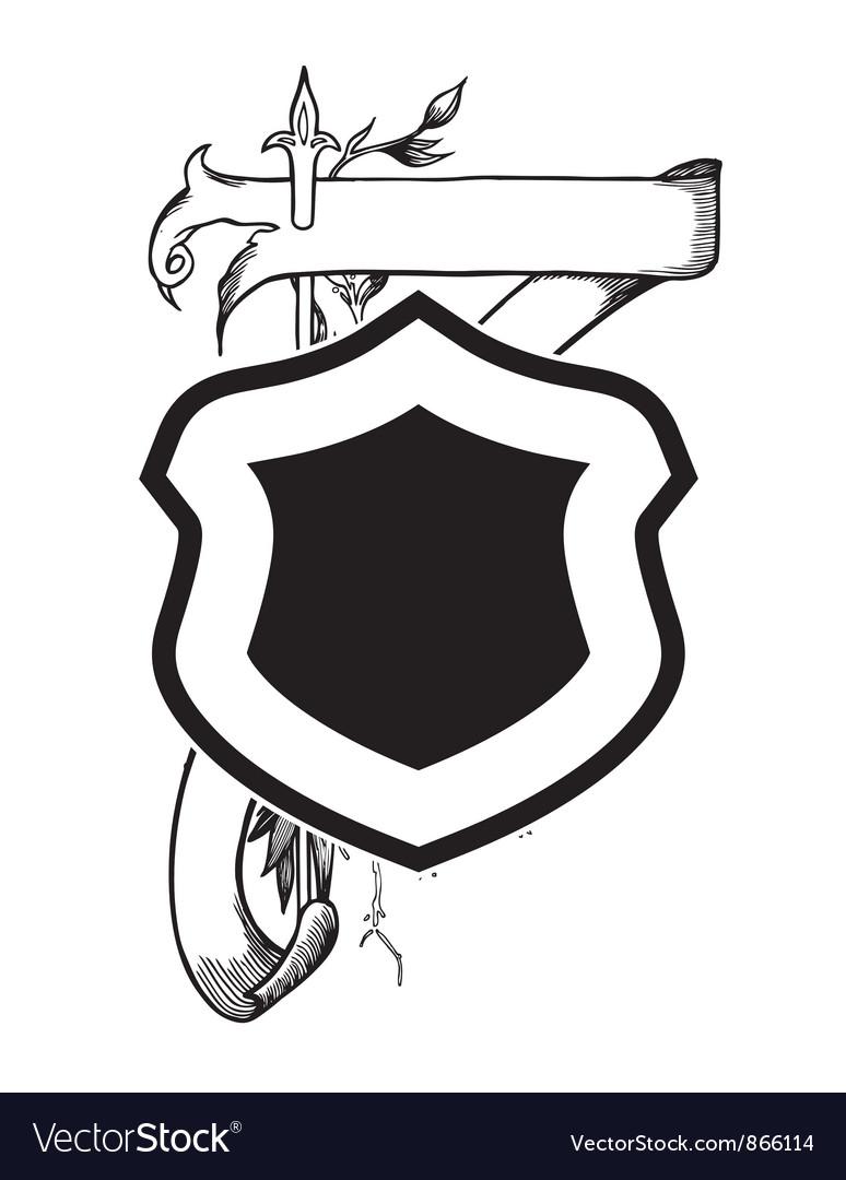 Vintage emblem with shield vector | Price: 1 Credit (USD $1)