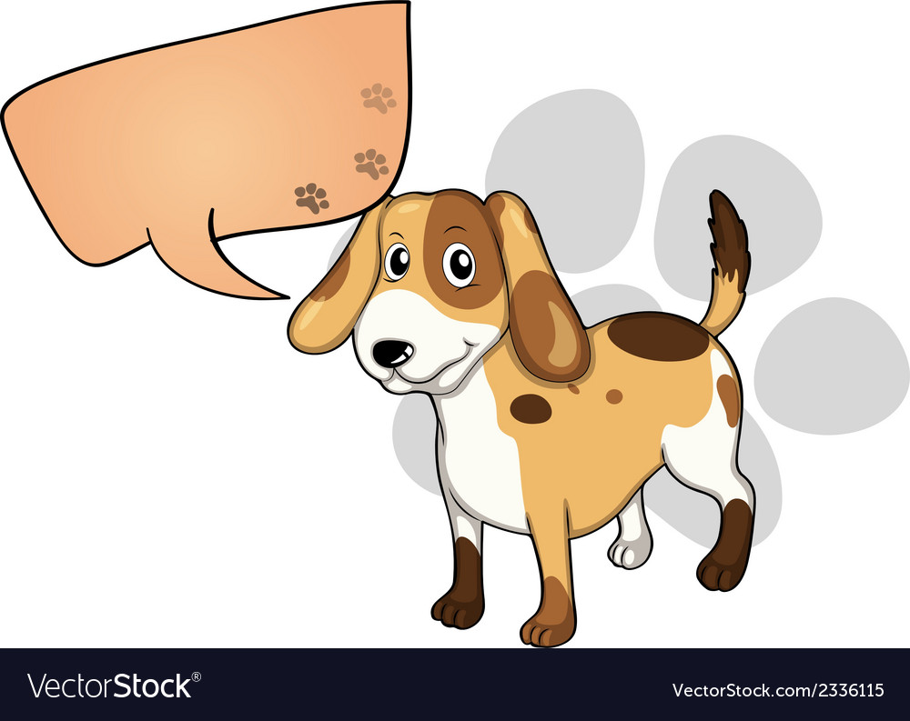A puppy with an empty rectangular callout vector | Price: 1 Credit (USD $1)