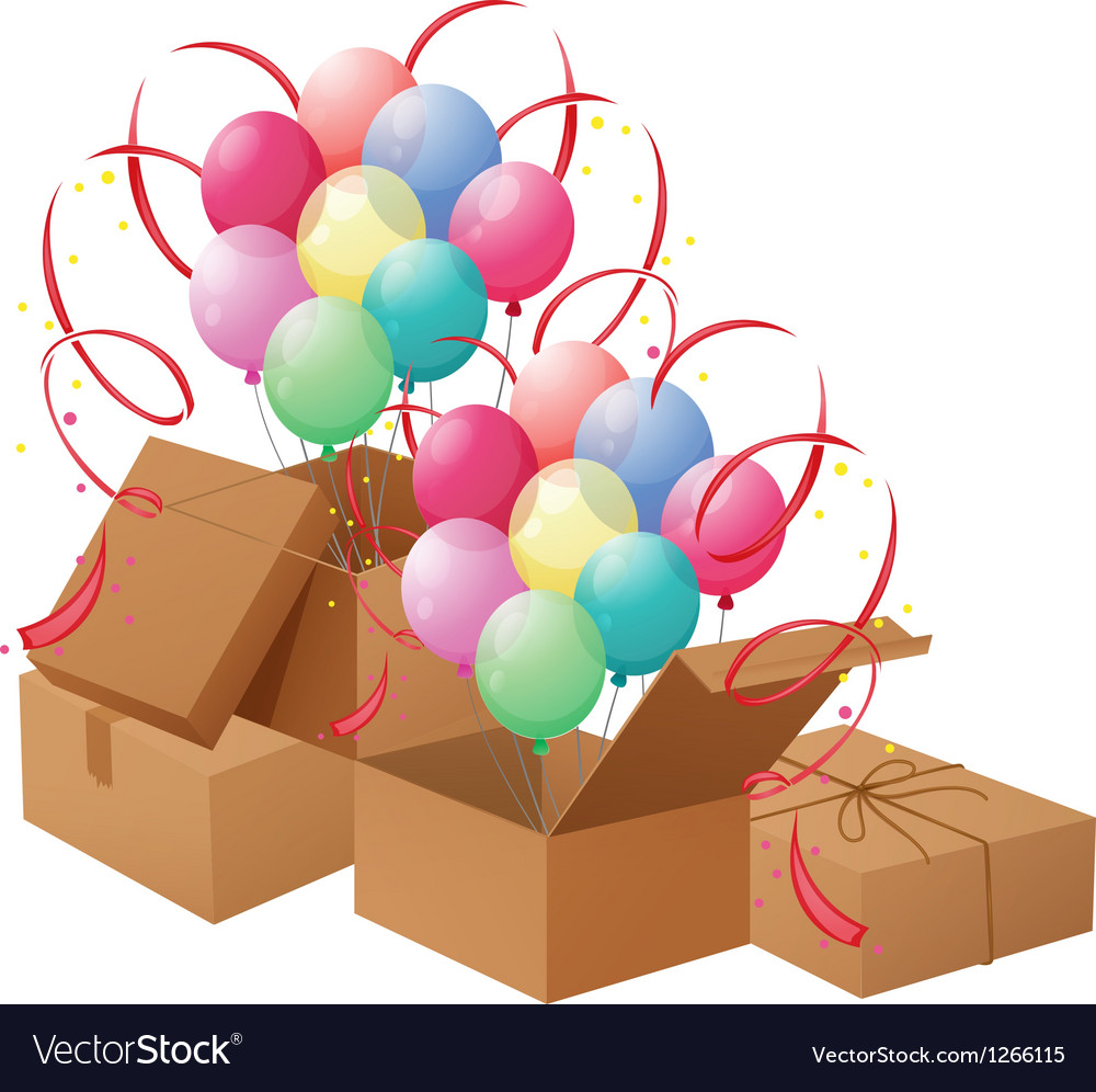 The balloons and the boxes vector | Price: 1 Credit (USD $1)