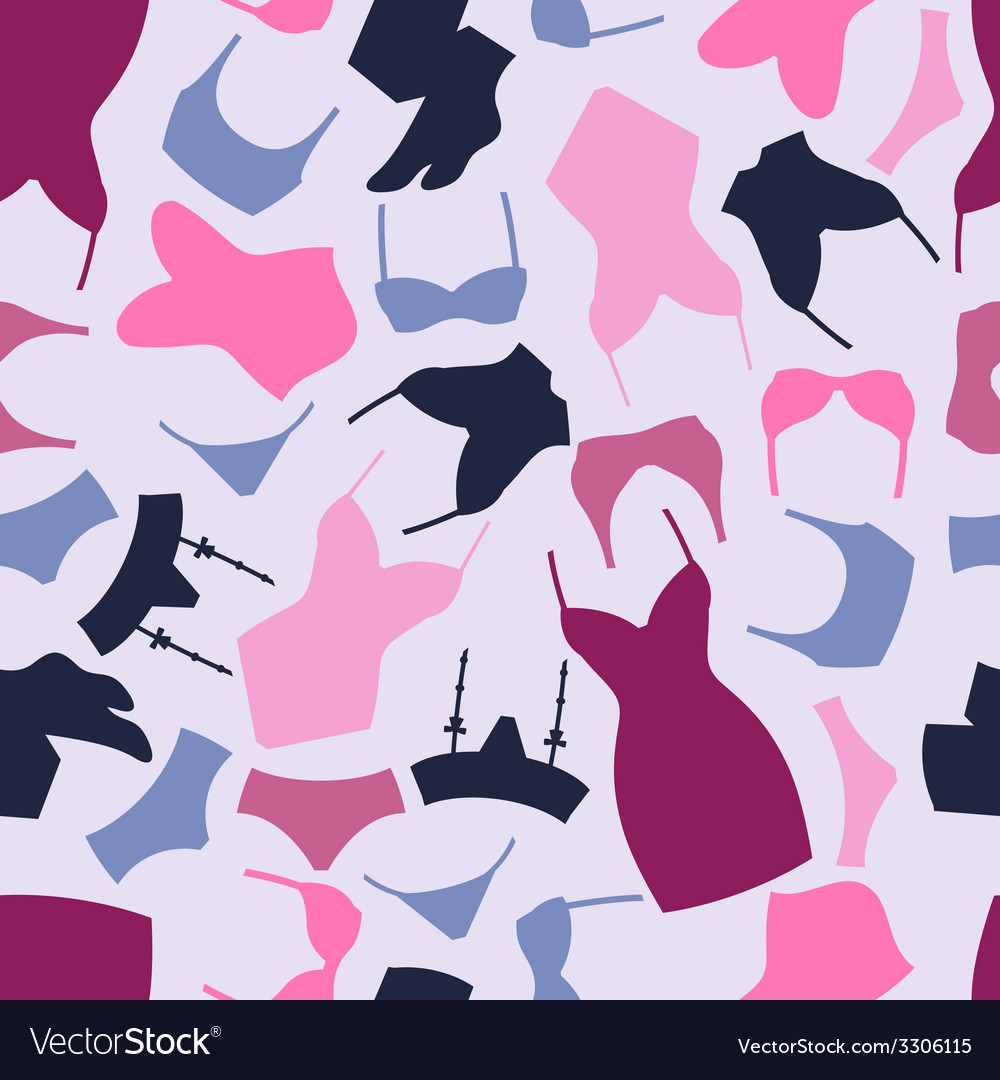 Fashion lingerie seamless pattern with female vector