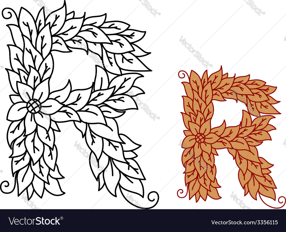 Floral and foliate font uppercase letter r vector | Price: 1 Credit (USD $1)