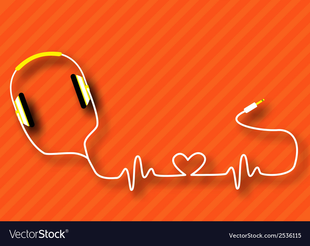 Headphones heart vector | Price: 1 Credit (USD $1)