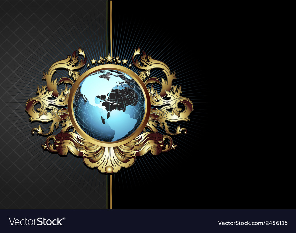 Ornate frame with globe vector | Price: 1 Credit (USD $1)