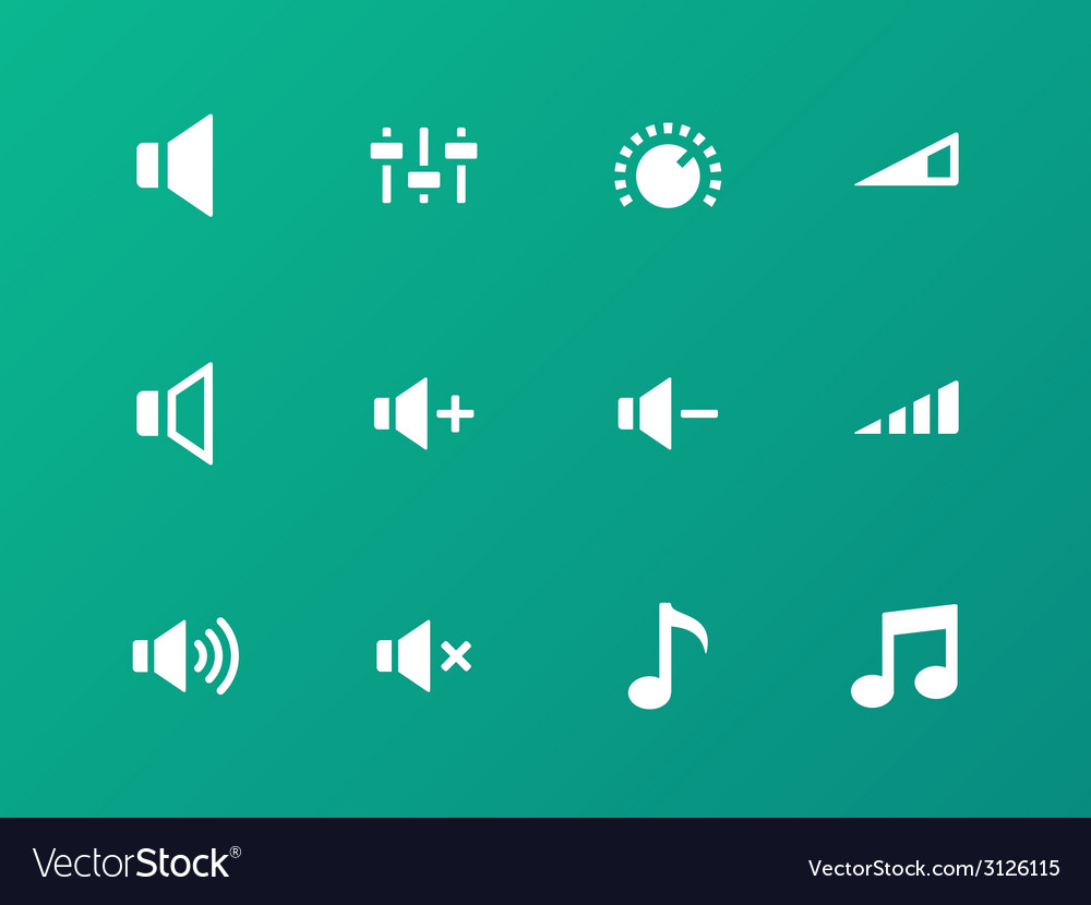 Speaker icons on green background volume control vector | Price: 1 Credit (USD $1)