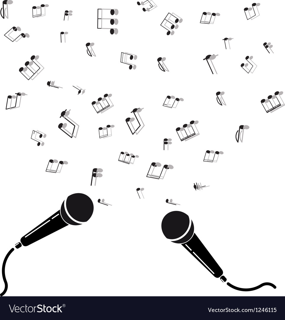 Two microphones black silhouette with notes a vector | Price: 1 Credit (USD $1)