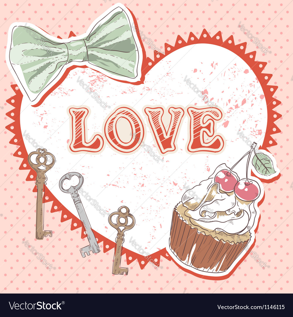 Valentine romantic retro card vector | Price: 1 Credit (USD $1)