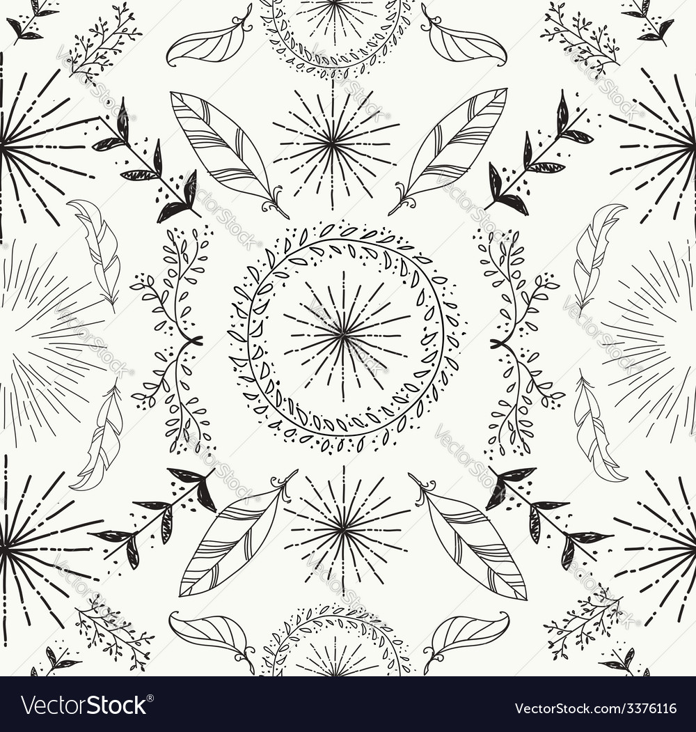 Abstract feather and floral seamless pattern vector | Price: 1 Credit (USD $1)
