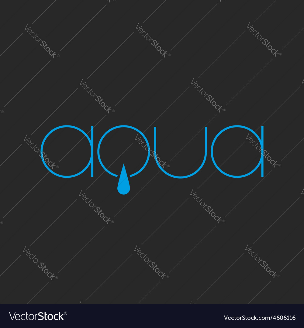 Aqua lettering logo of thin line fresh water drop vector | Price: 1 Credit (USD $1)