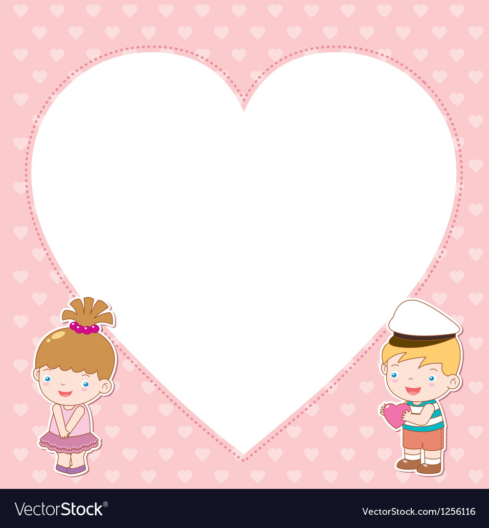 Boy and girl with white blank vector | Price: 1 Credit (USD $1)