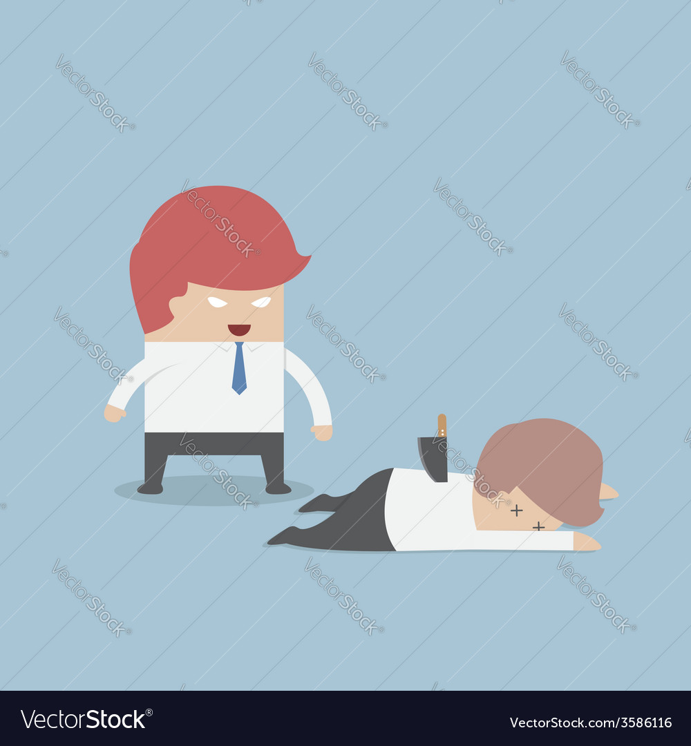 Businessman stabbed his friend in the back vector | Price: 1 Credit (USD $1)