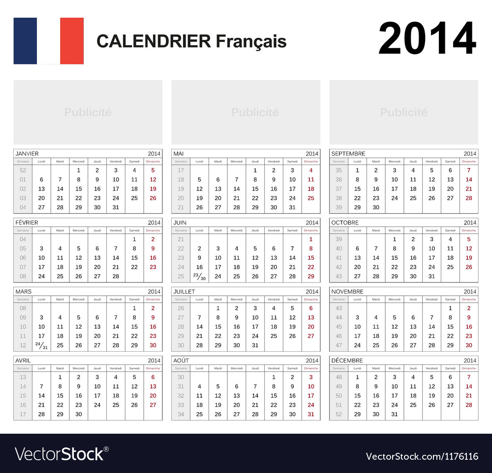 Calendar 2014 french type 19b vector | Price: 1 Credit (USD $1)