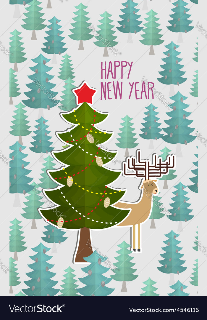 Christmas tree in forest and deer greeting card vector | Price: 1 Credit (USD $1)