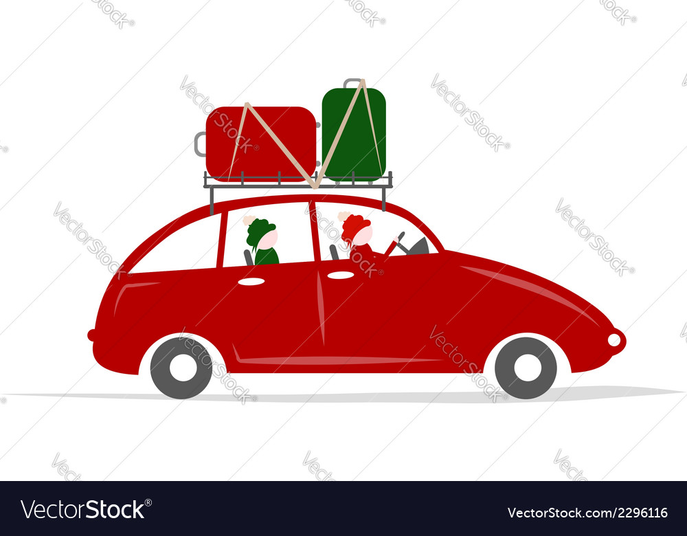 Family traveling by red car with luggage vector | Price: 1 Credit (USD $1)