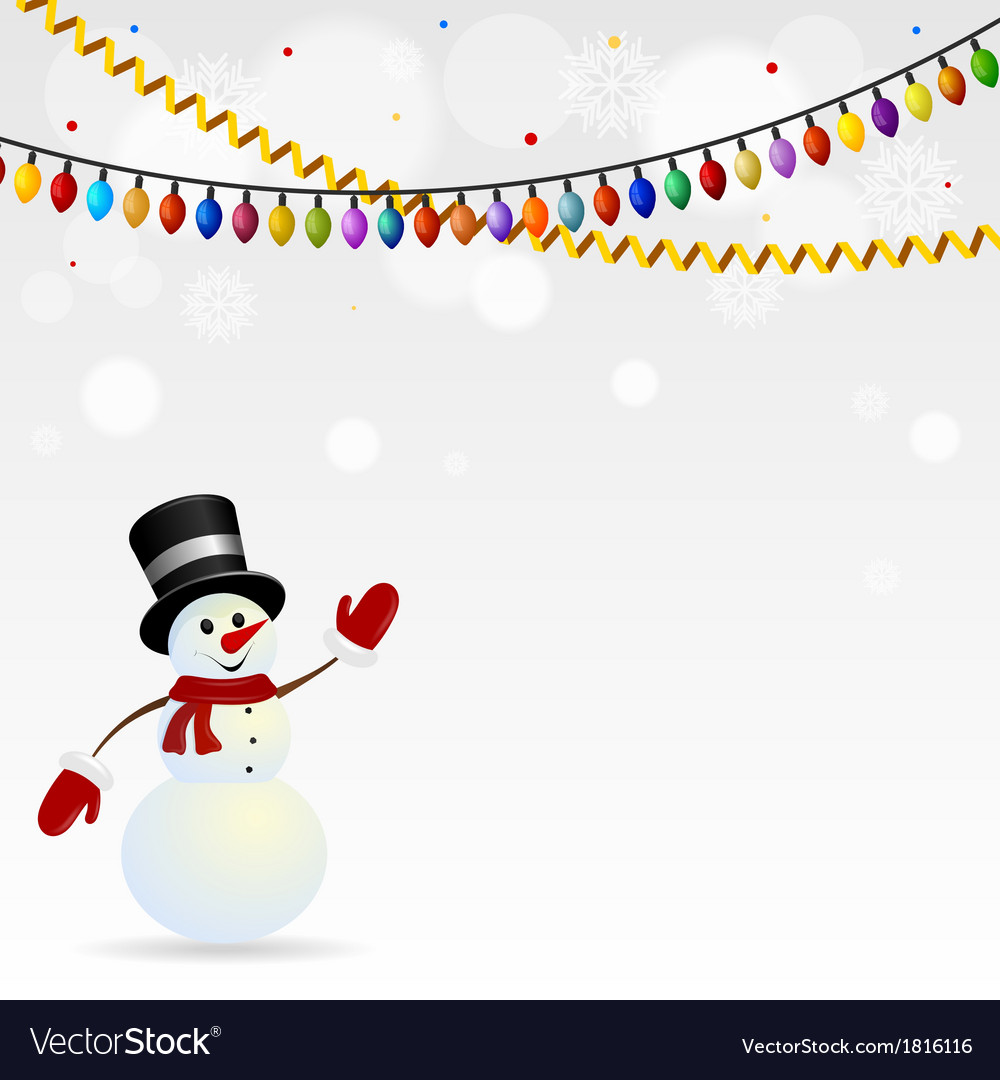 Festive snowman in hat with garlands vector | Price: 1 Credit (USD $1)