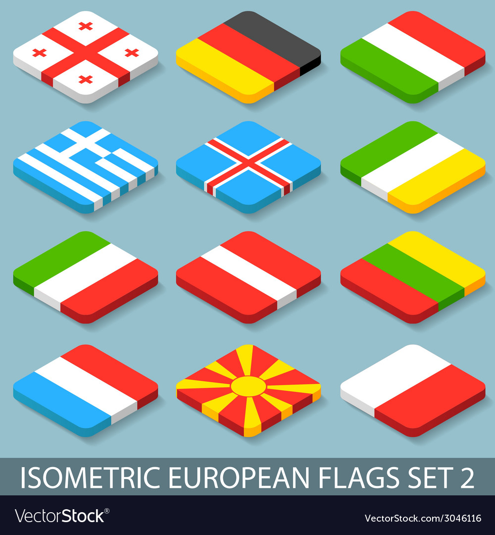 Flat isometric european flags set 2 vector | Price: 1 Credit (USD $1)
