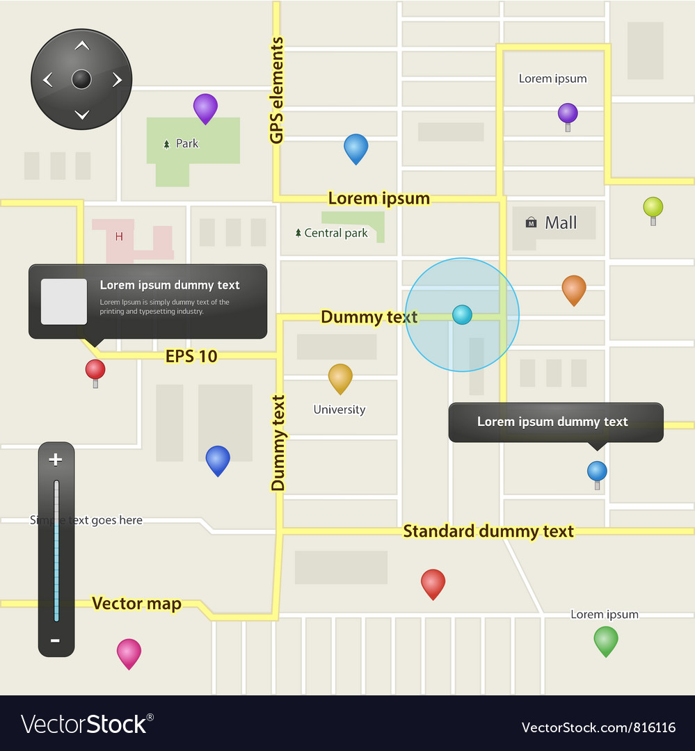 Gps navigation elements vector | Price: 1 Credit (USD $1)