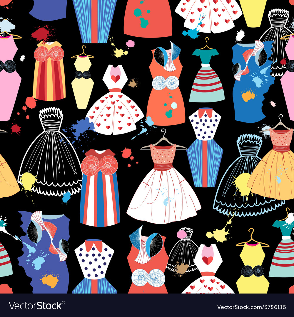 Pattern of fashionable dresses vector | Price: 1 Credit (USD $1)