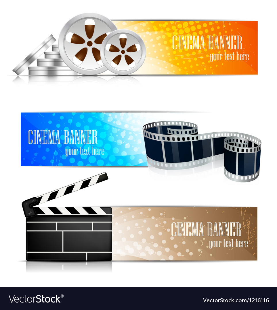 Set of banners with cinema element vector | Price: 3 Credit (USD $3)